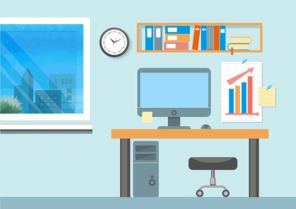 オフィス(机、パソコン等)などのイラスト