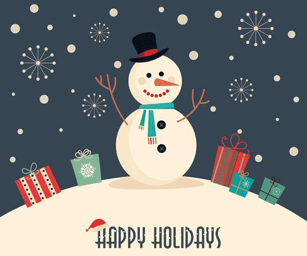 雪だるまのイラスト「HAPPY HOLIDAYS」