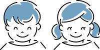 笑顔の男の子と女の子のイラスト