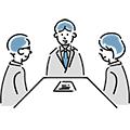 面談をしているビジネスマンと男性・女性のイラスト