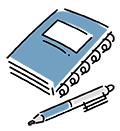 手帳とペンのイラスト