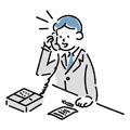 電話で話しているビジネスマンのイラスト
